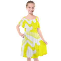 Golden Yellow Rose Kids  Cut Out Shoulders Chiffon Dress