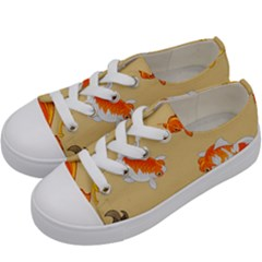 Gold Fish Seamless Pattern Background Kids  Low Top Canvas Sneakers by Amaryn4rt