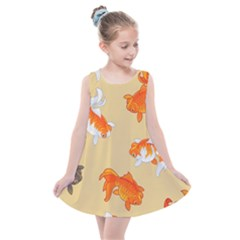 Gold Fish Seamless Pattern Background Kids  Summer Dress by Amaryn4rt