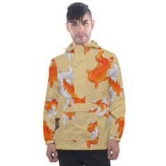 Gold Fish Seamless Pattern Background Men s Front Pocket Pullover Windbreaker by Amaryn4rt