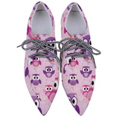 Seamless Cute Colourfull Owl Kids Pattern Pointed Oxford Shoes by Amaryn4rt