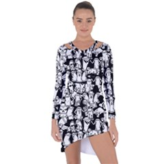 Graffiti Spray Can Characters Seamless Pattern Asymmetric Cut-out Shift Dress