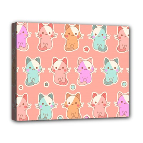Cute Kawaii Kittens Seamless Pattern Deluxe Canvas 20  X 16  (stretched)