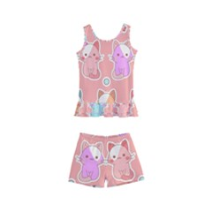 Cute Kawaii Kittens Seamless Pattern Kids  Boyleg Swimsuit