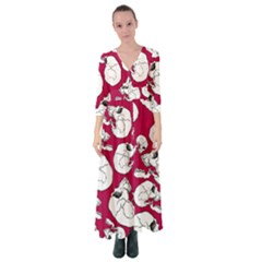 Terrible Frightening Seamless Pattern With Skull Button Up Maxi Dress by Amaryn4rt