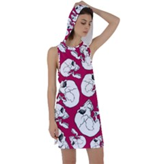 Terrible Frightening Seamless Pattern With Skull Racer Back Hoodie Dress