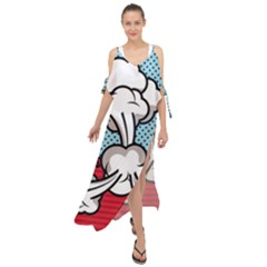 Rays Smoke Pop Art Style Vector Illustration Maxi Chiffon Cover Up Dress by Amaryn4rt