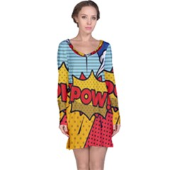 Pow Word Pop Art Style Expression Vector Long Sleeve Nightdress by Amaryn4rt