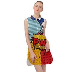Pow Word Pop Art Style Expression Vector Sleeveless Shirt Dress by Amaryn4rt