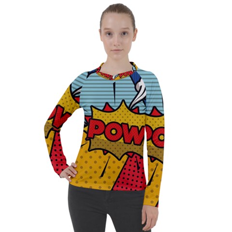 Pow Word Pop Art Style Expression Vector Women s Pique Long Sleeve Tee by Amaryn4rt