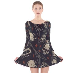 Grunge Seamless Pattern With Skulls Long Sleeve Velvet Skater Dress
