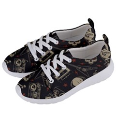 Grunge Seamless Pattern With Skulls Women s Lightweight Sports Shoes by Amaryn4rt