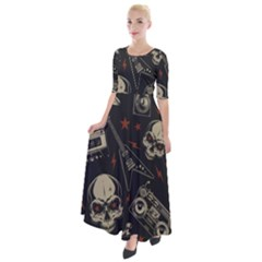Grunge Seamless Pattern With Skulls Half Sleeves Maxi Dress
