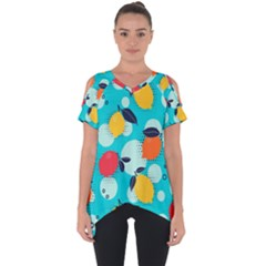 Pop Art Style Citrus Seamless Pattern Cut Out Side Drop Tee