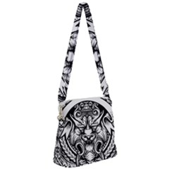 Tiger Illustration Vintage Border Frame Engraving With Retro Ornament Pattern Antique Rococo Style Zipper Messenger Bag