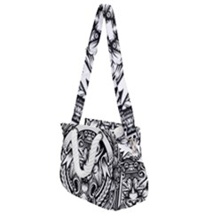 Tiger Illustration Vintage Border Frame Engraving With Retro Ornament Pattern Antique Rococo Style Rope Handles Shoulder Strap Bag