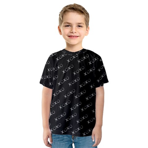 Xoxo Black And White Pattern, Kisses And Love Geometric Theme Kids  Sport Mesh Tee by Casemiro