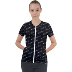 Xoxo Black And White Pattern, Kisses And Love Geometric Theme Short Sleeve Zip Up Jacket by Casemiro