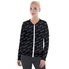 Xoxo Black And White Pattern, Kisses And Love Geometric Theme Velour Zip Up Jacket by Casemiro