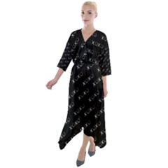 Xoxo Black And White Pattern, Kisses And Love Geometric Theme Quarter Sleeve Wrap Front Maxi Dress