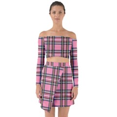 Pink Plaid Off Shoulder Top With Skirt Set by 80generationsapparel