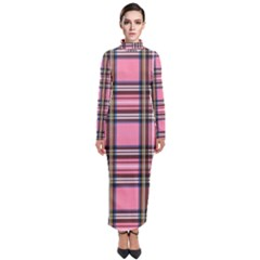 Pink Plaid Turtleneck Maxi Dress