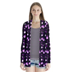Purple, Pink Bokeh Dots, Asymmetric Polka Dot With Modern Twist Drape Collar Cardigan