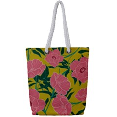 Pink Flower Seamless Pattern Full Print Rope Handle Tote (small)
