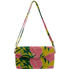 Pink Flower Seamless Pattern Removable Strap Clutch Bag
