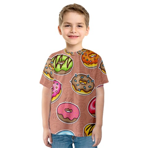 Doughnut Doodle Colorful Seamless Pattern Kids  Sport Mesh Tee by Amaryn4rt