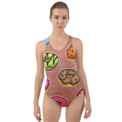 Doughnut Doodle Colorful Seamless Pattern Cut-out Back One Piece Swimsuit