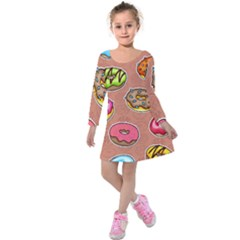 Doughnut Doodle Colorful Seamless Pattern Kids  Long Sleeve Velvet Dress by Amaryn4rt