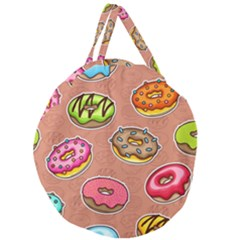 Doughnut Doodle Colorful Seamless Pattern Giant Round Zipper Tote by Amaryn4rt