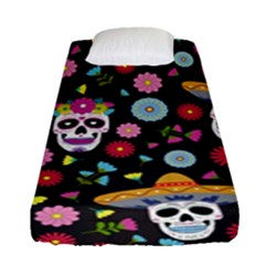 Day Dead Skull With Floral Ornament Flower Seamless Pattern Fitted Sheet (single Size)