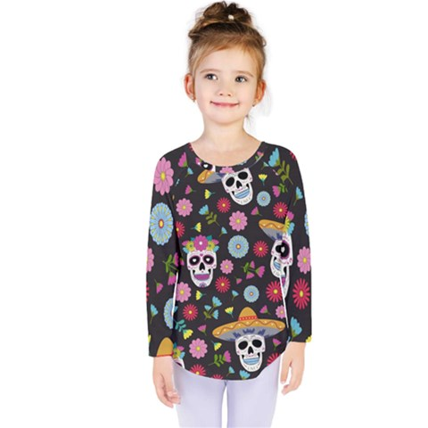 Day Dead Skull With Floral Ornament Flower Seamless Pattern Kids  Long Sleeve Tee by Amaryn4rt