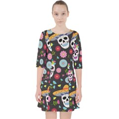 Day Dead Skull With Floral Ornament Flower Seamless Pattern Pocket Dress