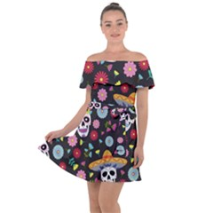 Day Dead Skull With Floral Ornament Flower Seamless Pattern Off Shoulder Velour Dress