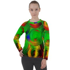 Pebbles In A Rainbow Pond Women s Long Sleeve Raglan Tee