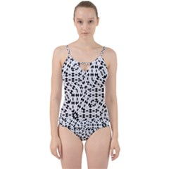 Black And White Ethnic Print Cut Out Top Tankini Set