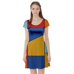 Dotted Colors Background Pop Art Style Vector Short Sleeve Skater Dress