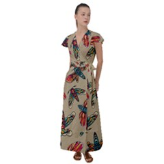 Tattoos Colorful Seamless Pattern Flutter Sleeve Maxi Dress