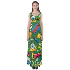 Pop Art Colorful Seamless Pattern Empire Waist Maxi Dress