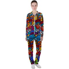 Graffiti Characters Seamless Pattern Casual Jacket And Pants Set