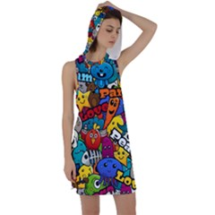Graffiti Characters Seamless Pattern Racer Back Hoodie Dress by Amaryn4rt