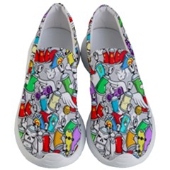 Graffit Characters Seamless Pattern Art Women s Lightweight Slip Ons