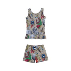 Tattoo Pattern Kids  Boyleg Swimsuit