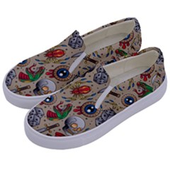Tattoo Pattern Kids  Canvas Slip Ons by Amaryn4rt