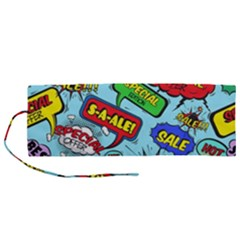 Comic Bubbles Seamless Pattern Roll Up Canvas Pencil Holder (m)