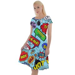 Comic Bubbles Seamless Pattern Classic Short Sleeve Dress