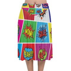 Pop Art Comic Vector Speech Cartoon Bubbles Popart Style With Humor Text Boom Bang Bubbling Expressi Velvet Flared Midi Skirt